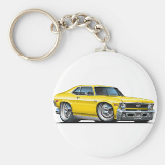 Chevy Nova Yellow Car Basic Round Button Key Ring