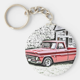 Chevy Truck Basic Round Button Key Ring