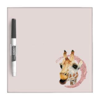 """Chew"" 3 Giraffe Watercolor Painting Dry Erase Board"