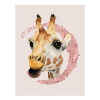 """Chew"" 3 Giraffe Watercolor Painting Postcard"