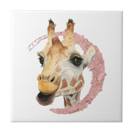 """Chew"" 3 Giraffe Watercolor Painting Tile"