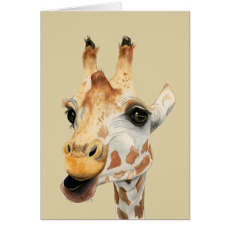 """Chew"" Giraffe Watercolor Painting Card"