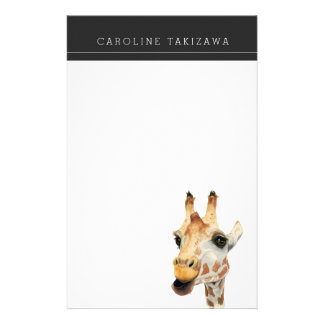 """""""Chew"""" Giraffe Watercolor Painting with Name Stationery"""