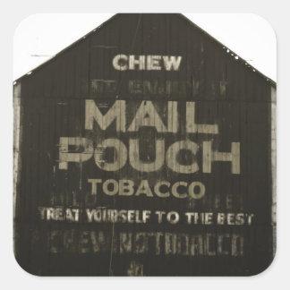 Chew Mail Pouch Tobacco - Antique Photo Finish Square Sticker