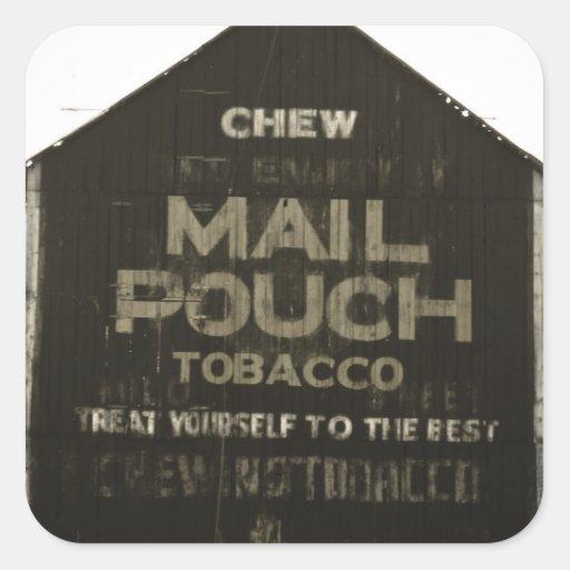 Chew Mail Pouch Tobacco - Antique Photo Finish Square Stickers