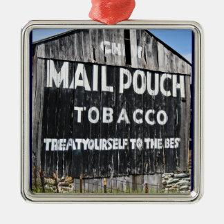 Chew Mail Pouch Tobacco Barn Silver-Colored Square Decoration