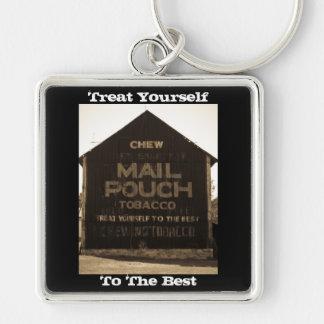 Chew Mail Pouch Tobacco Barn - Sepia Finish Key Chains