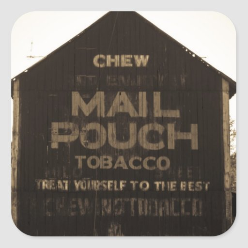 Chew Mail Pouch Tobacco Barn - Sepia Finish Square Sticker