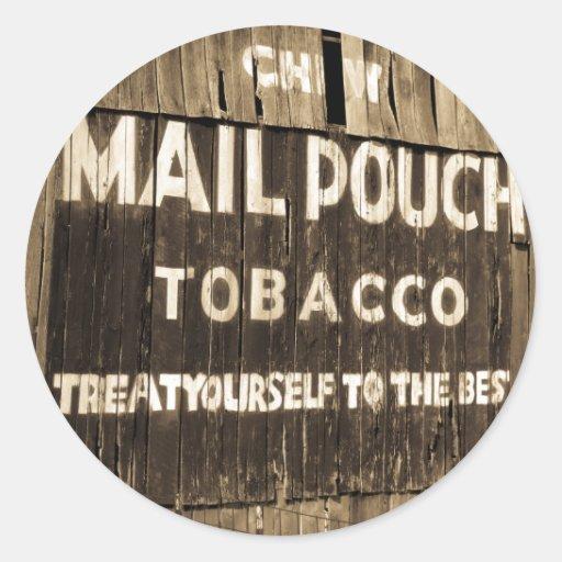 Chew Mail Pouch Tobacco Barn Round Sticker