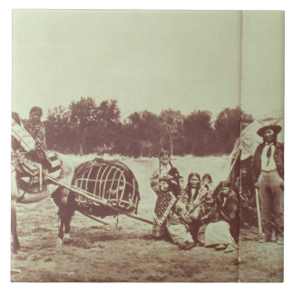Cheyenne Indians on the Move, 1878 (b/w photo) Large Square Tile