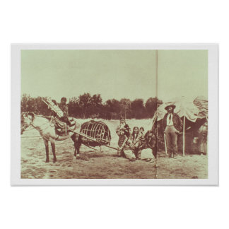 Cheyenne Indians on the Move, 1878 (b/w photo) Poster