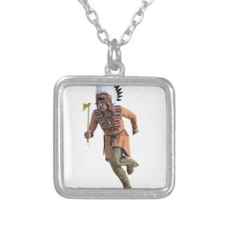 Cheyenne Warrior Chief Running Square Pendant Necklace