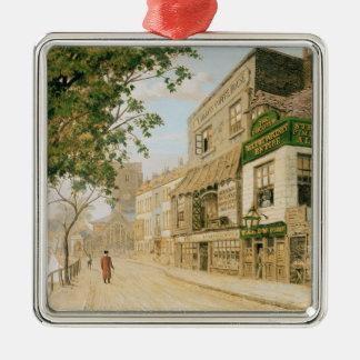 Cheyne Walk, Chelsea, 1857 Silver-Colored Square Decoration