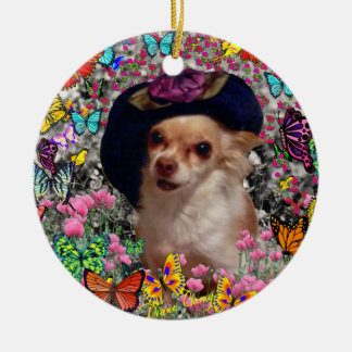 Chi Chi in Butterflies  - Chihuahua Puppy in Hat Round Ceramic Decoration