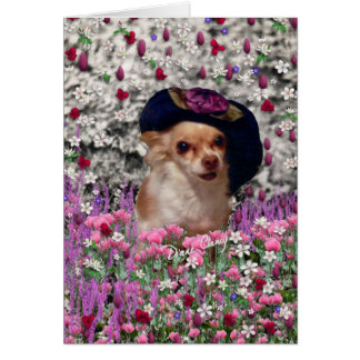 Chi Chi in Flowers  - Chihuahua Puppy in Cute Hat Card