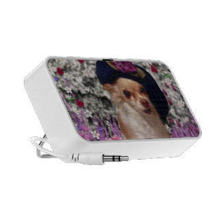 Chi Chi in Flowers - Chihuahua Puppy in Cute Hat Laptop Speakers