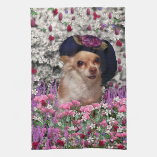 Chi Chi in Flowers  - Chihuahua Puppy in Cute Hat Tea Towel