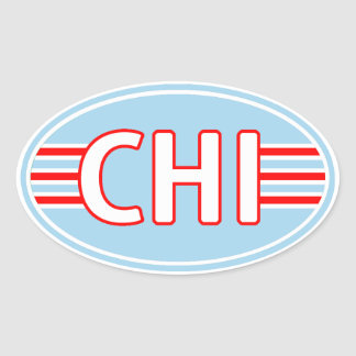 CHI Chicago Flag Colors Oval Sticker