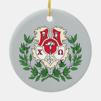 Chi Omega Crest Round Ceramic Decoration