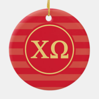 Chi Omega | Monogram Stripe Pattern Christmas Ornament