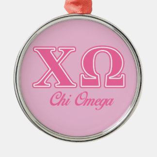 Chi Omega Pink Letters Christmas Ornament