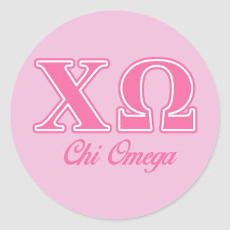 Chi Omega Pink Letters Classic Round Sticker