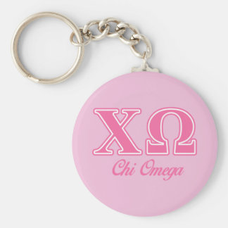 Chi Omega Pink Letters Key Ring