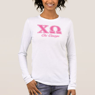Chi Omega Pink Letters Long Sleeve T-Shirt