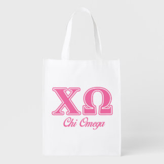 Chi Omega Pink Letters Reusable Grocery Bag