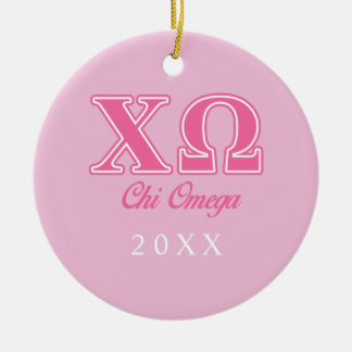 Chi Omega Pink Letters Round Ceramic Decoration
