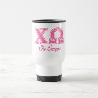 Chi Omega Pink Letters Travel Mug