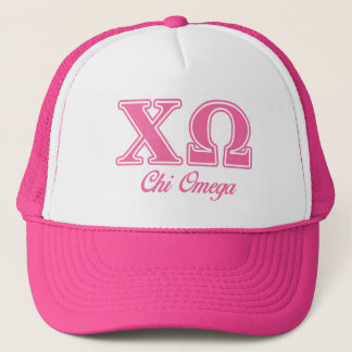 Chi Omega Pink Letters Trucker Hat