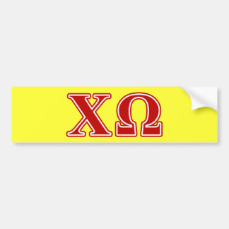 Chi Omega Red Letters Bumper Sticker