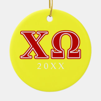Chi Omega Red Letters Christmas Ornament