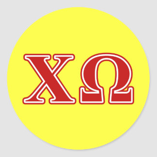 Chi Omega Red Letters Classic Round Sticker