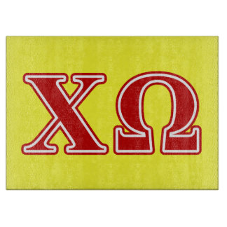 Chi Omega Red Letters Cutting Board