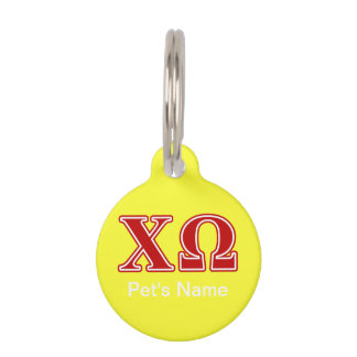 Chi Omega Red Letters Pet Name Tag