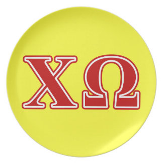 Chi Omega Red Letters Plate