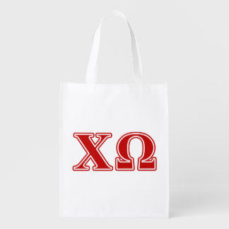 Chi Omega Red Letters Reusable Grocery Bag