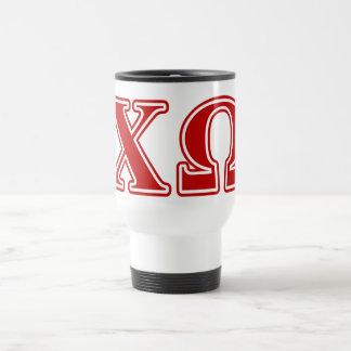 Chi Omega Red Letters Travel Mug