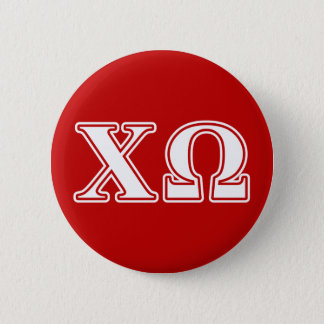 Chi Omega White and Red Letters 6 Cm Round Badge
