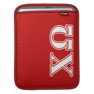 Chi Omega White and Red Letters iPad Sleeve
