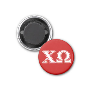 Chi Omega White and Red Letters Magnet