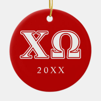 Chi Omega White and Red Letters Round Ceramic Decoration
