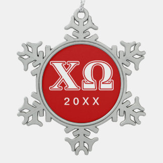 Chi Omega White and Red Letters Snowflake Pewter Christmas Ornament