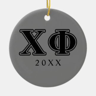 Chi Phi Black Letters Christmas Ornament