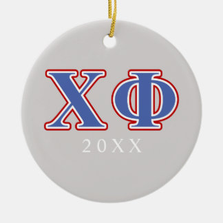 Chi Phi Blue and Red Letters Christmas Ornament