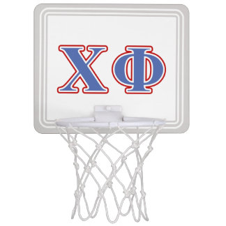 Chi Phi Blue and Red Letters Mini Basketball Hoop