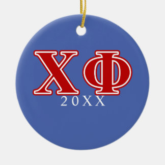 Chi Phi Red Letters Round Ceramic Decoration