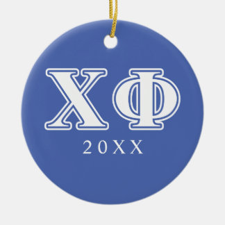 Chi Phi White and Blue Letters Christmas Ornament